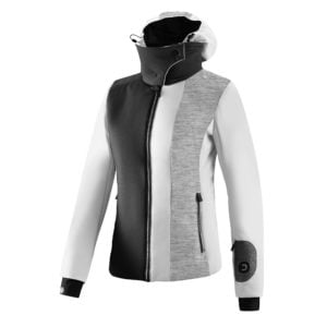 The Jhoira stretch jacket has a technical design.